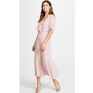 Faithfull Maple Midi Dress Pink Gingham 6 NWT